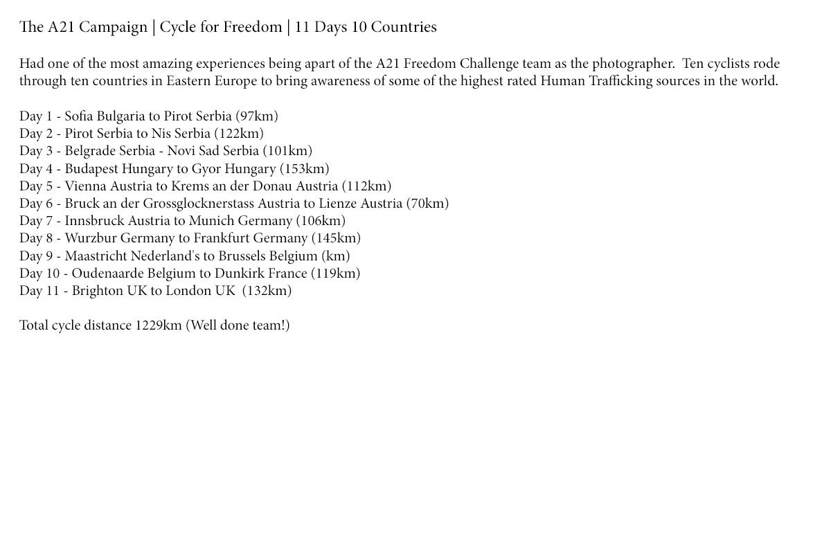 a21 campaign, cycle for freedom, Darren Covington, Dan Blythe, Reuben Singleton, Kate Furbur, Wesley Hurrell, Annabel Partridge, Ben Houston, Ralph Boer, Lindz West, Dean Windsor, Nick Caine